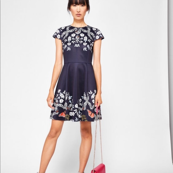 2135d67d8 Ted Baker London Blue Kyoto Gardens Skater Dress. M 5bbb91b8d6dc5203581ac724